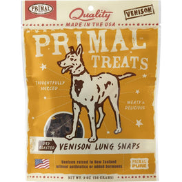 Primal Dry Roasted Venison Lung Snaps Dog Treat 2oz