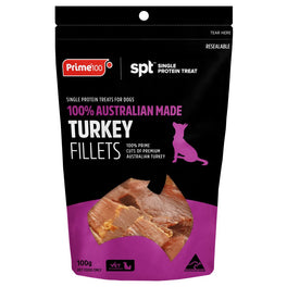 Prime100 Single Protein Treat Turkey Fillets Dog Treats 100g