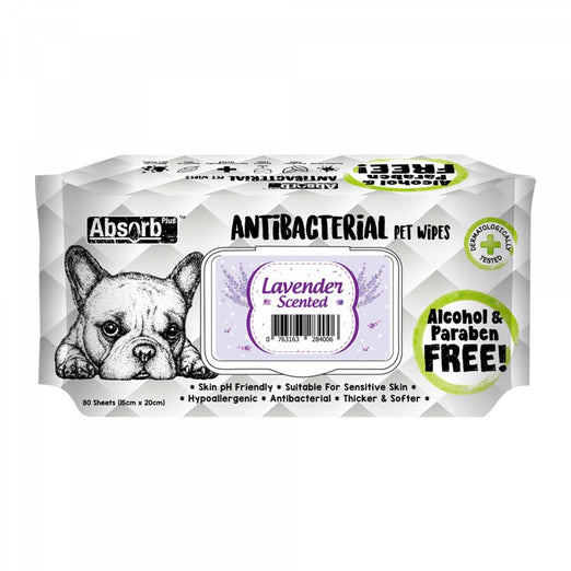 3 FOR $11: Absorb Plus Antibacterial Lavender Scented Pet Wipes 80ct - Kohepets