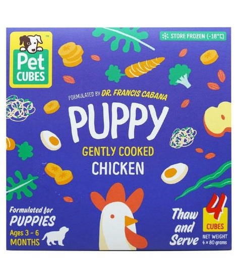 PetCubes Gently Cooked Chicken Puppy Frozen Food 2.25kg - Kohepets