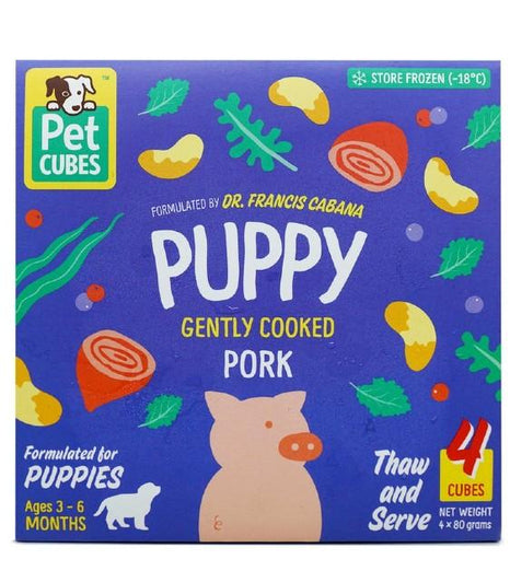 PetCubes Gently Cooked Pork Puppy Frozen  Food 2.25kg - Kohepets