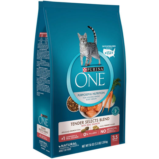 15% OFF: Purina One Tender Selects Blend Salmon Dry Cat Food 3.5lb - Kohepets