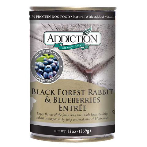 Addiction Black Forest Rabbit & Blueberries Entree Canned Dog Food 368g