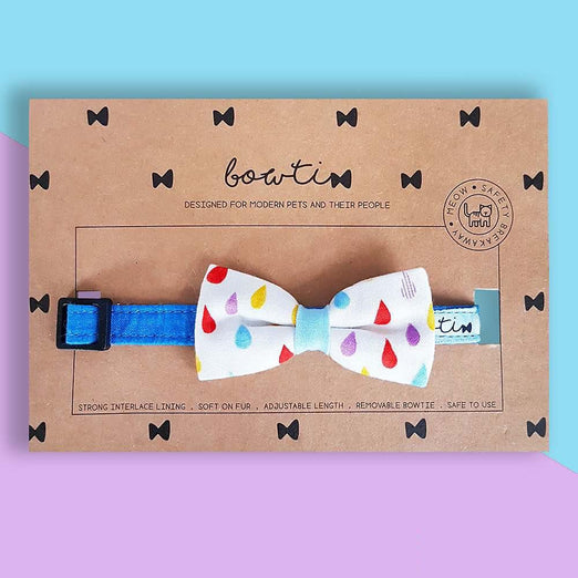 Bowtix Handmade Dog Collar With Removable Bowtie - Rainbow Drops