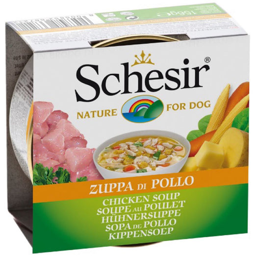 Schesir Chicken Soup Canned Dog Food 156g - Kohepets