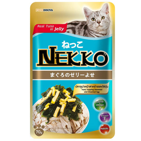 45% OFF: Nekko Tuna With Seaweed & Steamed Egg Pouch Cat Food 70g (Exp 3 Apr 19)