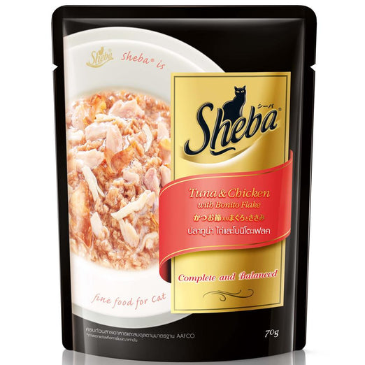Sheba Tuna & Chicken With Bonito Flakes Pouch Cat Food 70g - Kohepets
