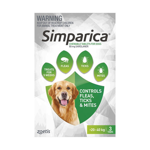 Simparica Anti Flea & Tick Chews For Large Dogs (20.1-40kg) 3ct - Kohepets