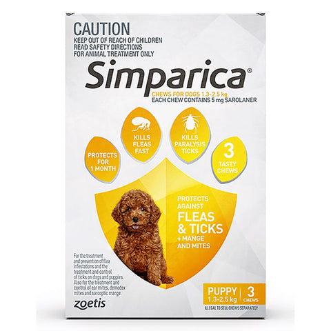 Simparica Anti Flea & Tick Chews For Puppies (1.3-2.5kg) 3ct - Kohepets