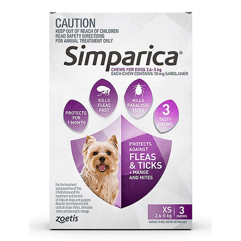 Simparica Anti Flea & Tick Chews For Extra Small Dogs (2.6-5kg) 3ct - Kohepets