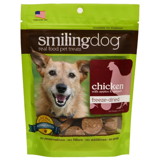 Smiling Dog Chicken, Apples & Spinach Freeze-Dried Dog Treats 70g