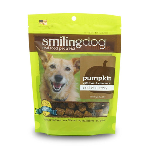 Smiling Dog Pumpkin with Flax & Cinnamon Grain-Free Soft & Chewy Dog Treats 227g