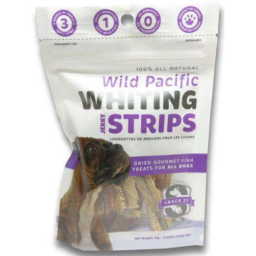 Snack 21 Wild Pacific Whiting Jerky Strips Dog Treats 25g