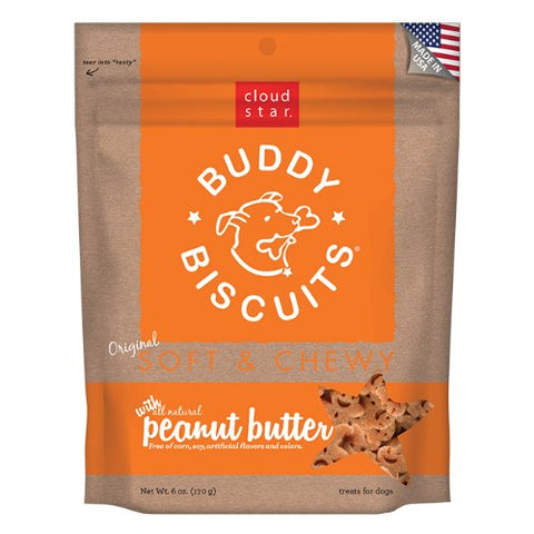 Cloud Star Soft and Chewy Buddy Biscuits, Peanut Butter Dog Treats 170g