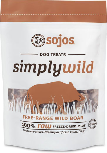 Sojos Simply Wild Freeze-Dried Free-Range Wild Boar Dog Treats 2.5oz - Kohepets