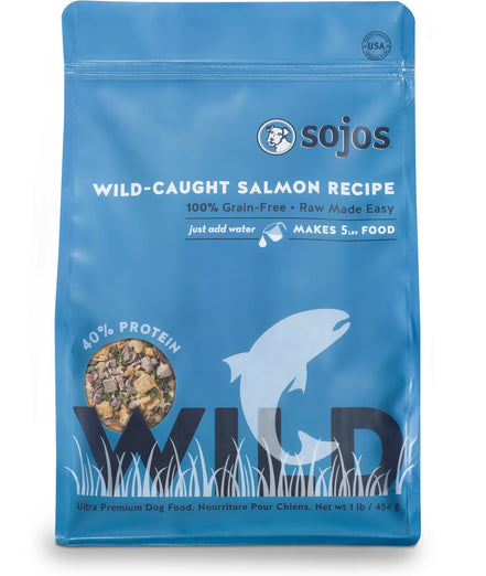 Sojos Wild Wild-Caught Salmon Recipe Raw Dehydrated Dog Food 1lb - Kohepets
