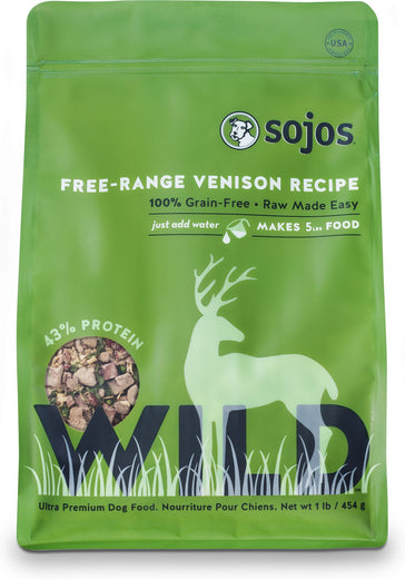 Sojos Wild Free-Range Venison Recipe Raw Dehydrated Dog Food 1lb - Kohepets