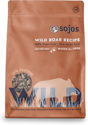 Sojos Wild Wild Boar Recipe Raw Dehydrated Dog Food 1lb - Kohepets