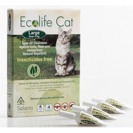 UP TO 20% OFF: Solano Ecolife Spot-On Cat Flea Control Solution for Cats over 4kg 4ct
