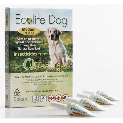 UP TO 20% OFF: Solano Ecolife Spot-On Dog Flea Control Solution for Dogs 15 - 30kg 4ct