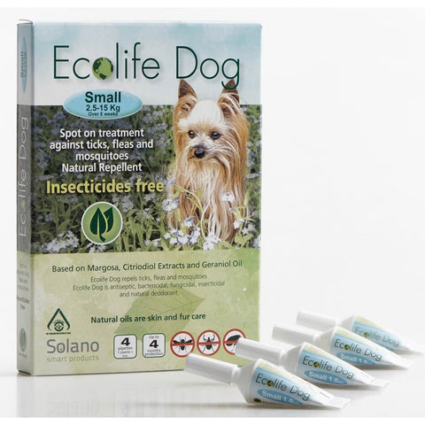 Solano Ecolife Spot-On Dog Flea Control Solution for Dogs 2.5 - 15kg 4ct - Kohepets