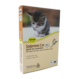 UP TO 20% OFF: Solano Solpreme Spot-On Flea Control for Cats & Kittens 0.6 - 4kg 4ct