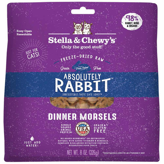 Stella & Chewy's Absolutely Rabbit Dinner Morsels Freeze-Dried Cat Food 8oz - Kohepets