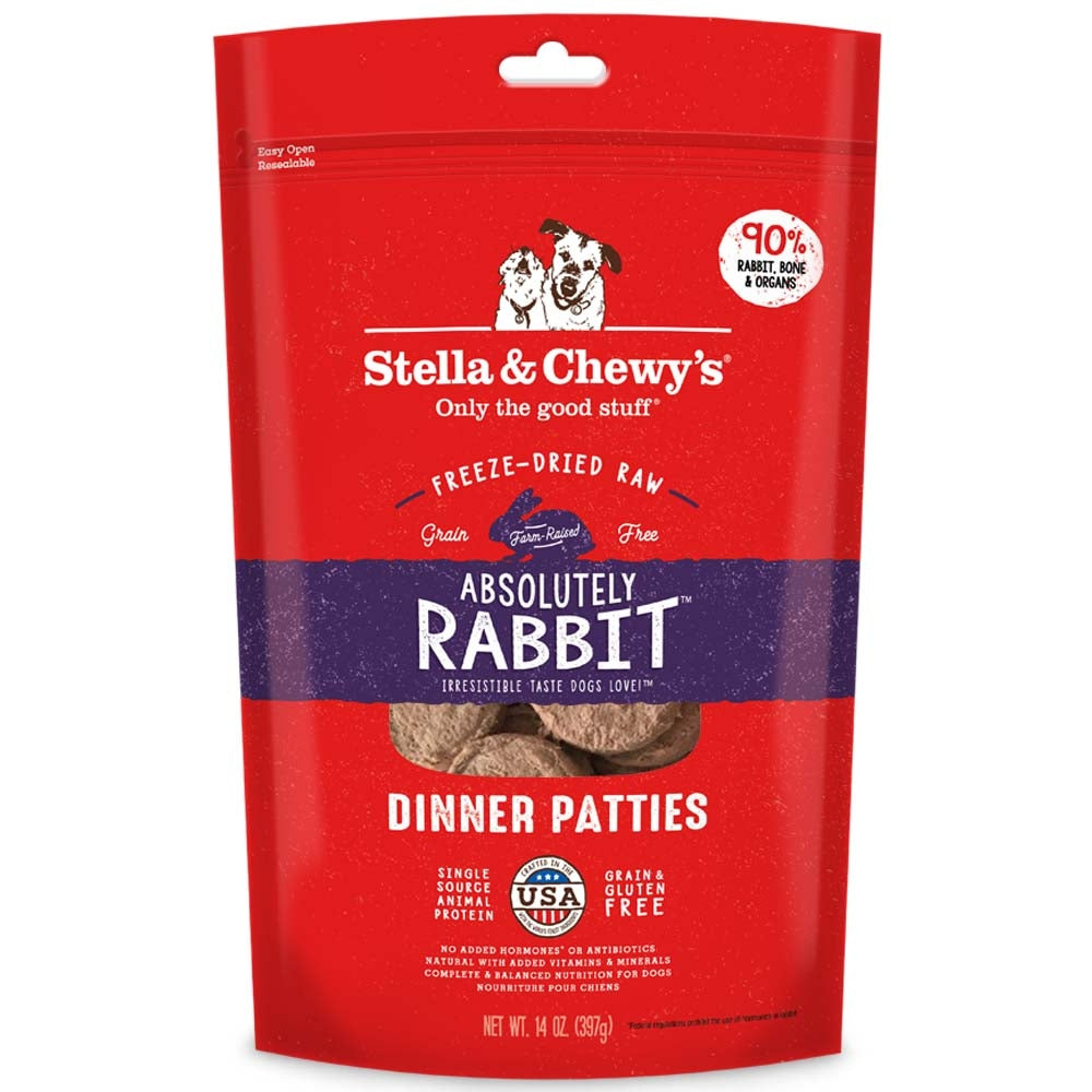 730e37ae7e Stella   Chewy s Absolutely Rabbit Dinner Patties Freeze-Dried Dog Food –  Kohepets