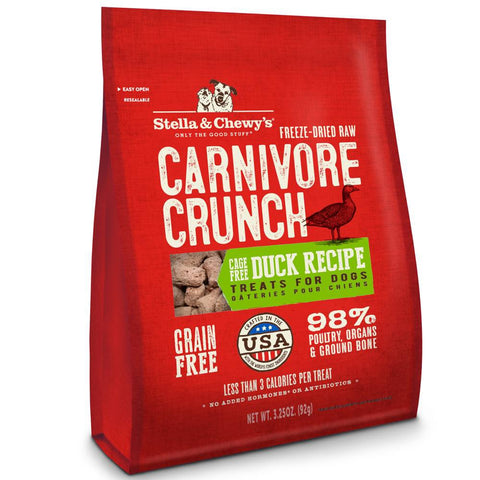8 FOR $88: Stella & Chewy's Carnivore Crunch Duck Freeze-Dried Dog Treats 3.25oz - Kohepets