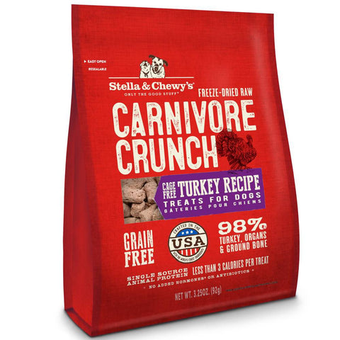 8 FOR $88: Stella & Chewy's Carnivore Crunch Turkey Freeze-Dried Dog Treats 3.25oz - Kohepets