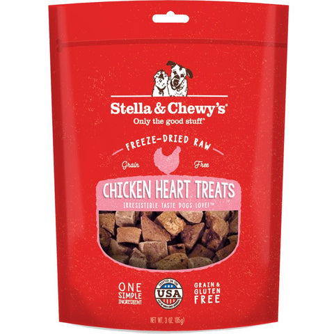 Stella & Chewy's Chicken Heart Single Ingredient Freeze-Dried Dog Treats 3oz