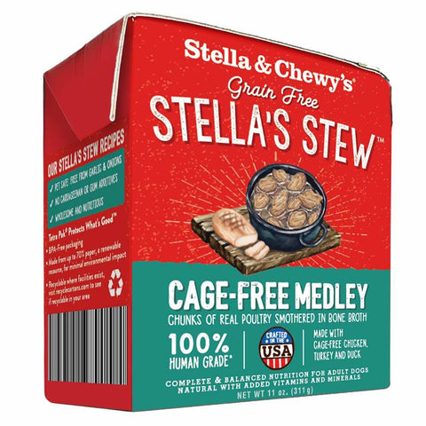 Stella & Chewy's Grain-Free Cage-Free Medley Chicken, Turkey & Duck Recipe Stew Dog Food 11oz - Kohepets