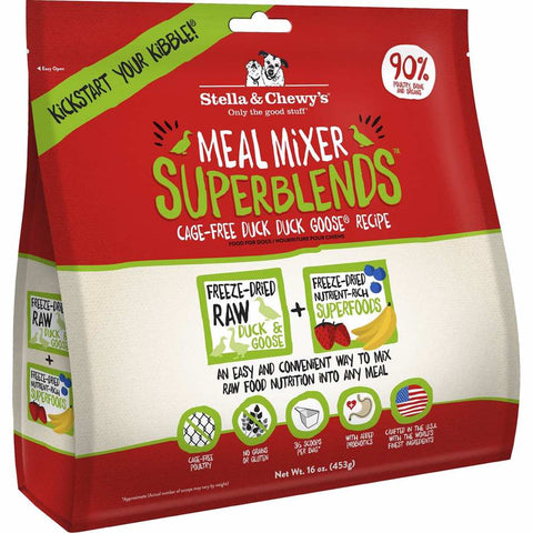 Stella & Chewy's Meal Mixer Superblends Duck Duck Goose Freeze-Dried Dog Food 16oz - Kohepets