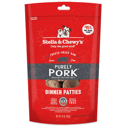 '5 FOR $213': Stella & Chewy's Purely Pork Dinner Patties Freeze-Dried Dog Food 14oz (Pre-Expo Sale)
