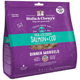 FREE WET FOOD: Stella & Chewy's Sea-licious Salmon & Cod Dinner Morsels Freeze-Dried Cat Food 8 oz