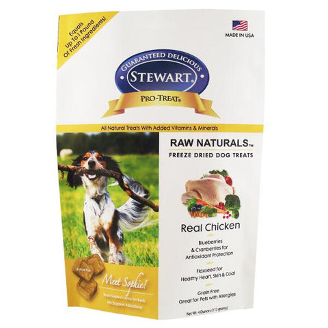 Stewart Raw Naturals Freeze-Dried Real Chicken With Berries & Flaxseed Dog Treats 4oz - Kohepets