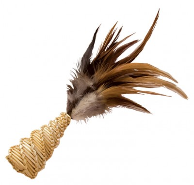 Kong Straw Cone With Feathers Cat Toy - Kohepets