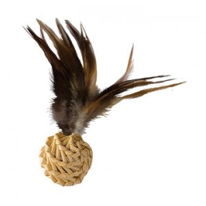 Kong Straw Ball With Feathers Cat Toy - Kohepets