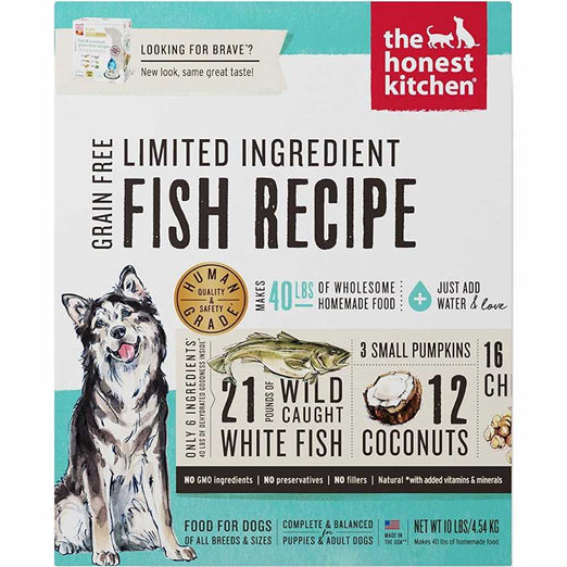 'FREE TREATS': The Honest Kitchen Brave Grain Free Limited Ingredient Fish Recipe Dehydrated Dog Food
