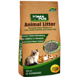 Tom & Pus Recycled Paper Cat & Small Animal Litter 30L