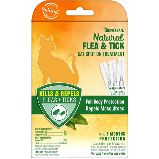 Tropiclean Natural Flea & Tick Cat Spot-On Solution - Kohepets