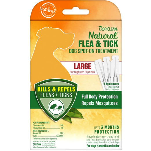 TropiClean Natural Flea & Tick Dog Spot-On Treatment (Large) 3ct - Kohepets