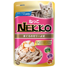 20% OFF: Nekko Tuna With Shrimp & Scallop Pouch Cat Food 70g
