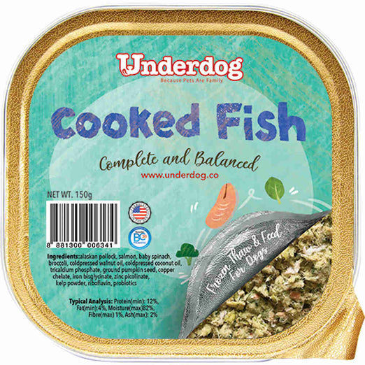 Underdog Cooked Fish Complete & Balanced Frozen Dog Food 150g - Kohepets