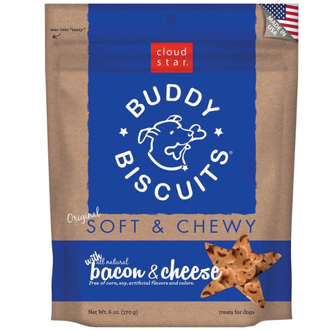 Cloud Star Soft and Chewy Buddy Biscuits, Bacon & Cheese Dog Treats 170g