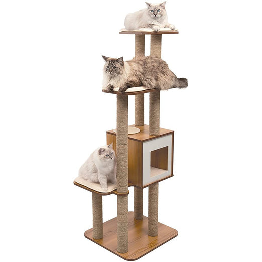 Vesper V-High Base Cat Furniture XL Walnut - Kohepets