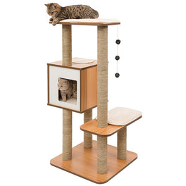 Vesper V-High Base In Walnut Cat Condo