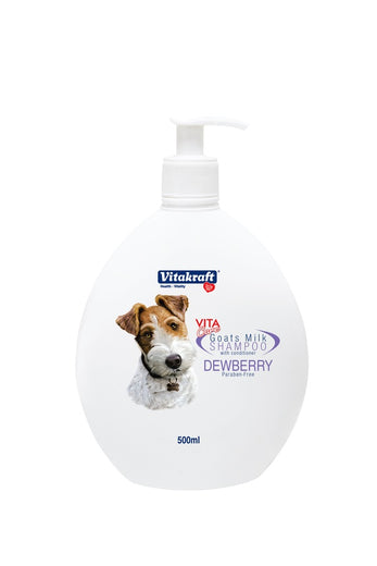 Vitakraft 2-in-1 Goat's Milk Shampoo For Dogs Dewberry 500ml - Kohepets