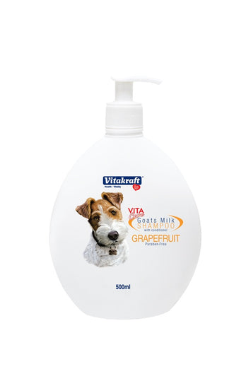 Vitakraft 2-in-1 Goat's Milk Shampoo For Dogs Grapefruit 500ml