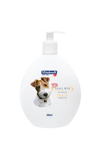 Vitakraft 2-in-1 Goat's Milk Shampoo For Dogs Peach 500ml